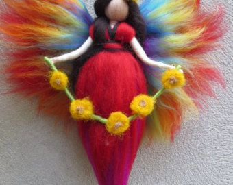 SET Day and Night  Felted angel  needle felted and by LivelySheep