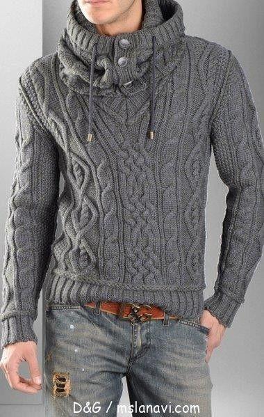 Мужской пуловер спицами от D&G | Вяжем с Лана Ви