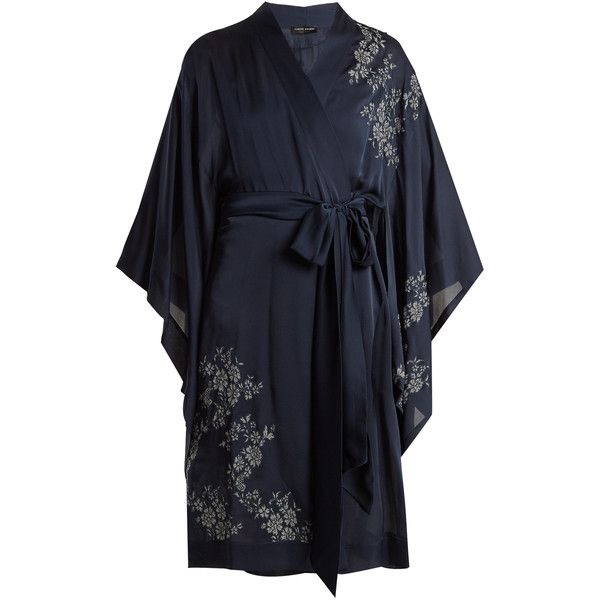 Carine Gilson Lace-appliqué short silk-satin kimono ($2,320) ❤ liked on Polyvore featuring intimates, robes, navy multi, navy blue camisole, navy blue slip, navy camisole, lace camisole and short kimono robe