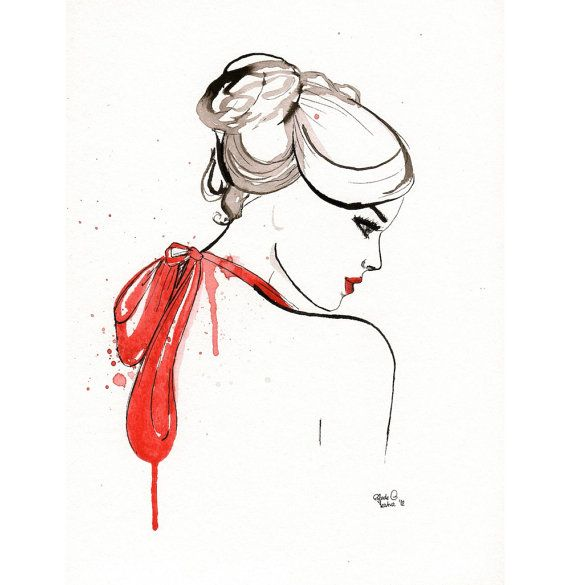 Original watercolor painting The Lady with the Red by MilkFoam, $40.00
