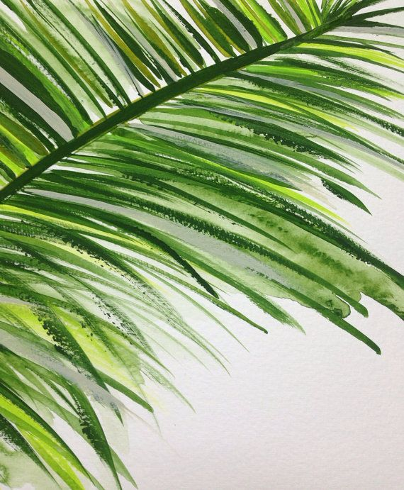 Abstract Palm Tree Leaf Painting 9x12 by JenniferFlanniganart