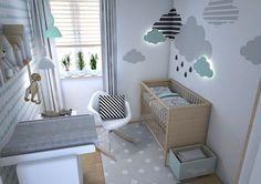 Nuvens na parede (com luz), berço e cadeira. As plantinhas na janela também são uma gracinha