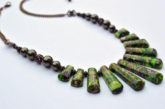 Green Statement Necklace  Green Ocean by TresorelleJewellery
