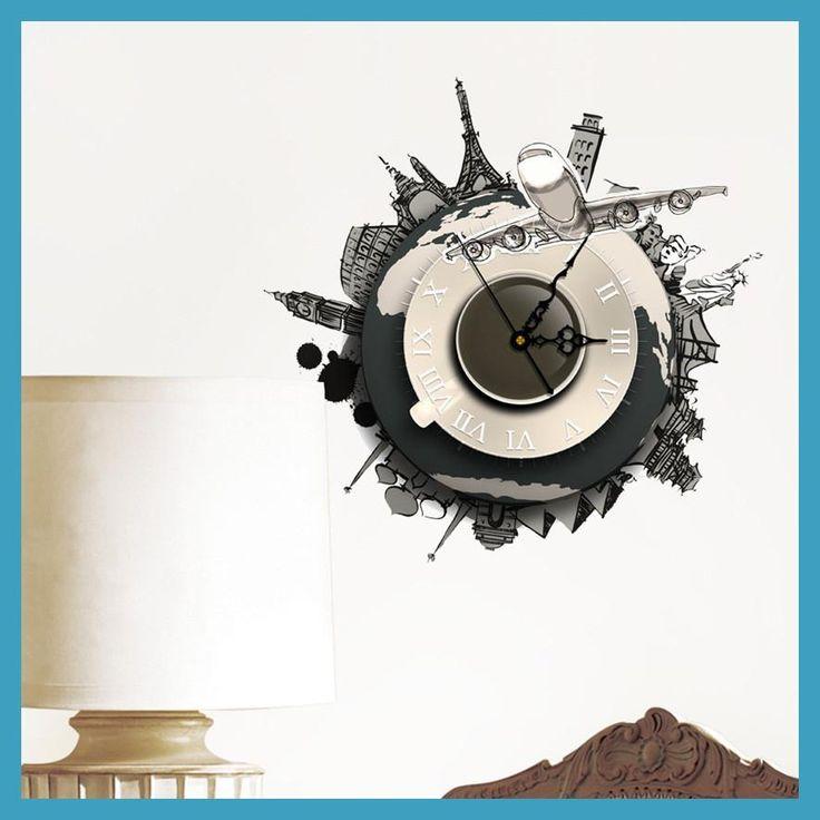 Aimecor DIY 3D Wall Stickers Clock World Earth Wall Decal Clock 3D Art Wall Clock*30 hogar cocina 2017