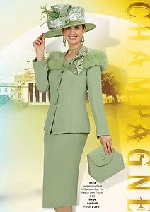 Champagne Suits For Women | Champagne Italy 3824 Apricot Sage Green Fox Fur Church Dress Suit ...