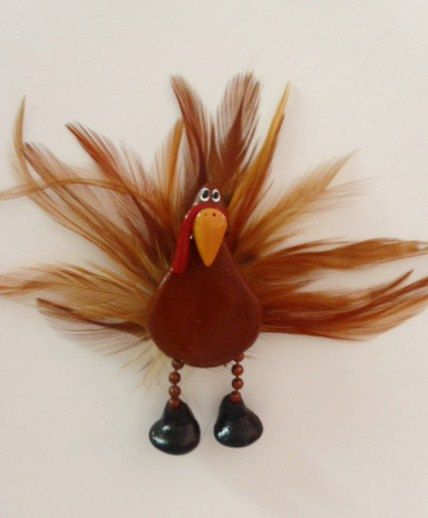 Gobble Gobble Turkey: Polymer Clay turkey pin with feathers