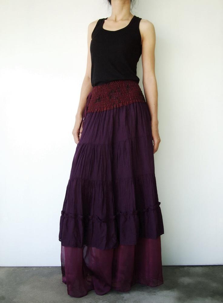 NO.36      Purple Cotton Tiered Peasant Skirt. $40.00, via Etsy.