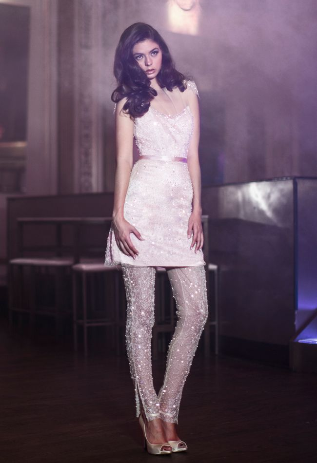 Can't get over the short dress and leggings combo. So much that we're going to start keeping track of unconventional/new/bold/daring looks in the gown industry. Let's see where this goes!   Anne Bowen Spring 2014 Wedding Dresses