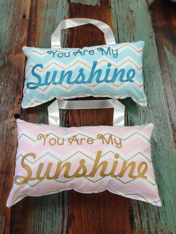 You Are my Sunshine Pillow with Mint, Gold, and a Soft White Chevron Print Fabric. Hand Painted with Metallic Gold Acrylic Paint