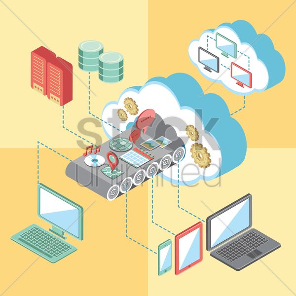 cloud computing infographic vector graphic