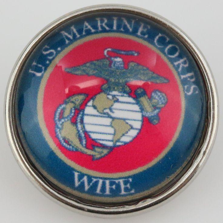 #37971-1 - Snap Jewelry - Snap - US Marine Corps Wife w/ Emblem