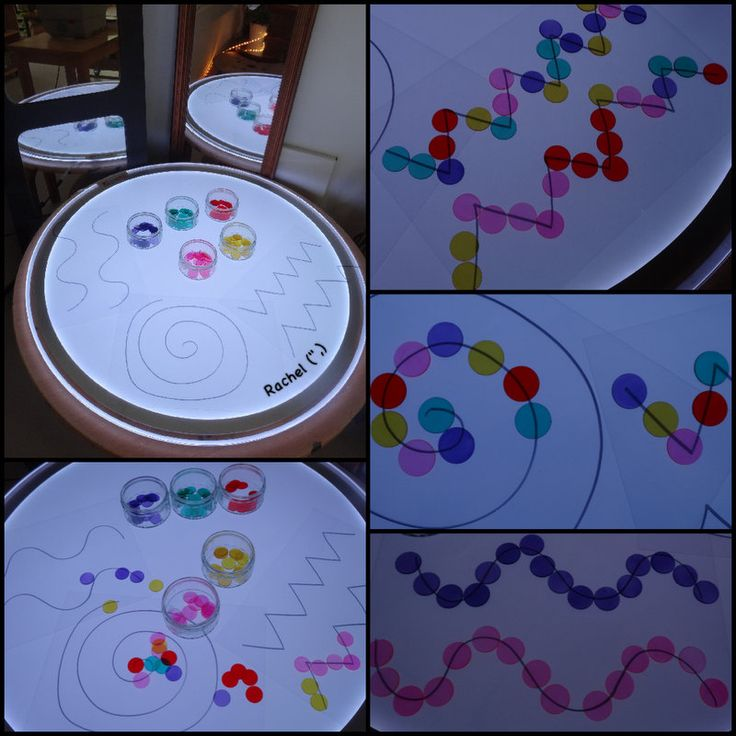 "Line designs and coloured circular counters on the light panel - from Rachel ("",)"