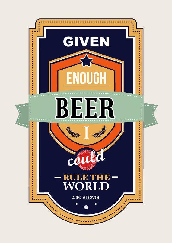 Beer Poster Gifts for Men Beer Print Male Humor by oflifeandlemons, $18.50