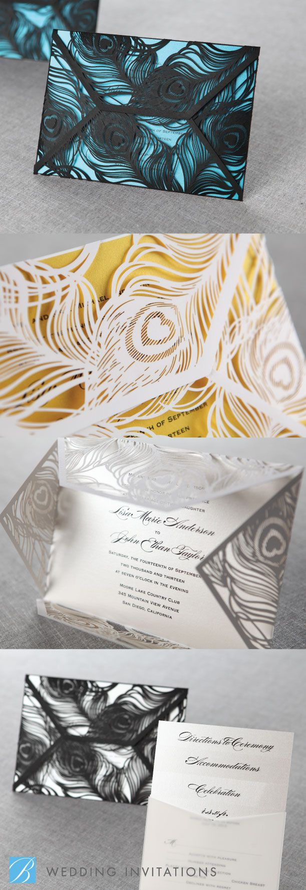 civil wedding invitation card%0A modern designed with feather shape laser cut wedding invitations