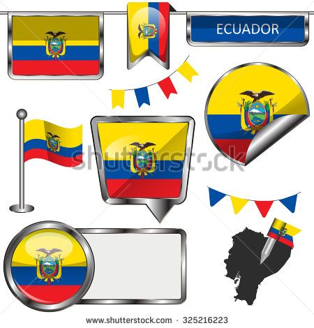 Vector glossy icons of flag of Ecuador on transparent background