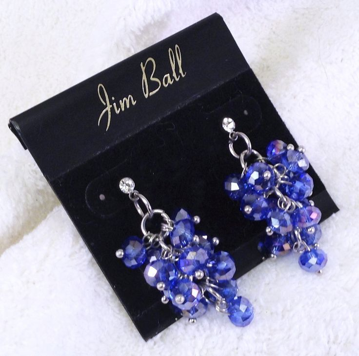 """Irridescent Sapphire Clusters Suspended from a Single Simple Rhinestone Stud Jim Ball 1 1/2"""" Perfect for adult casual wear or a little girl's pageant or performance wear."""