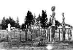 Tekoteko, carved figures of ancestors, stand guard on the perimeter of the Papawai marae, overlooking the marble monument to Tamahau Mahupuku.