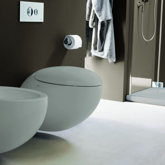 Create a contemporary bathroom with the  Il Bagno Alessi One wall hung toilet