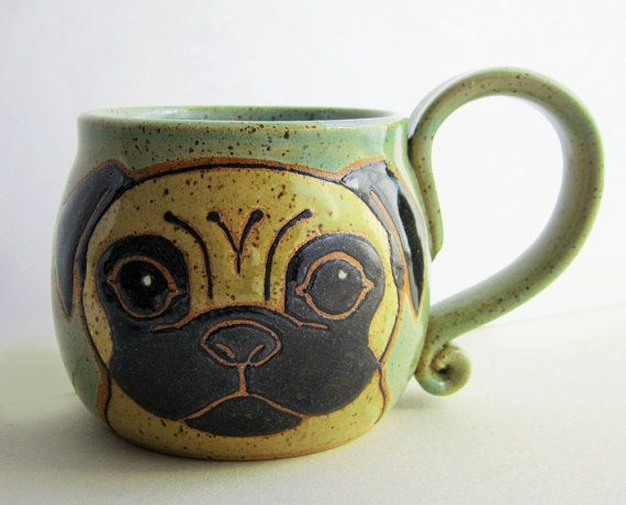 Pug Mug Pottery, mothers day gift, ceramic mug, handmade pug dog, pug art, animal art, dog mug, holds 16 oz, microwave and dishwasher safe.