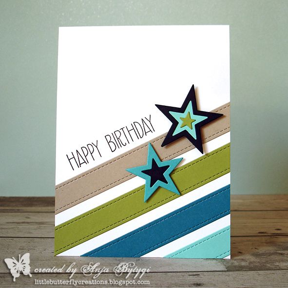 handmade birthday card from Little Butterfly Creations ... masculine look colors ... diagonally placed die cut strips with faux stitching ... die cut stars with embedded cut layers .. bold sentimet ... great card!