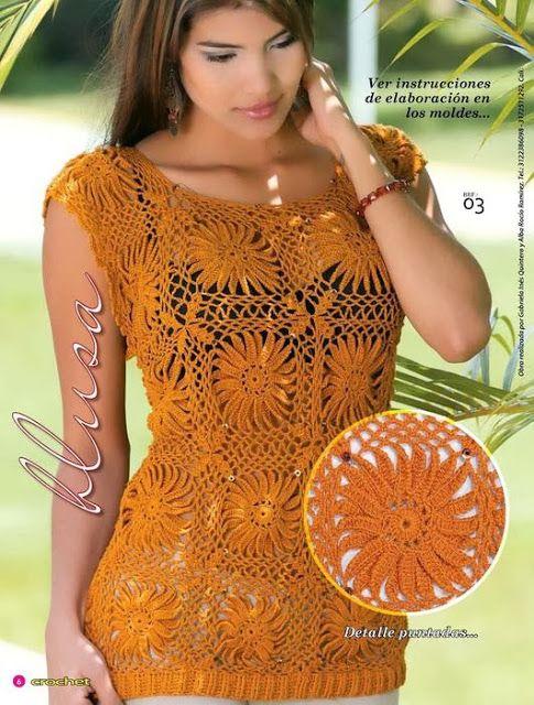 Graficos y Crochet: Blusa Girasoles