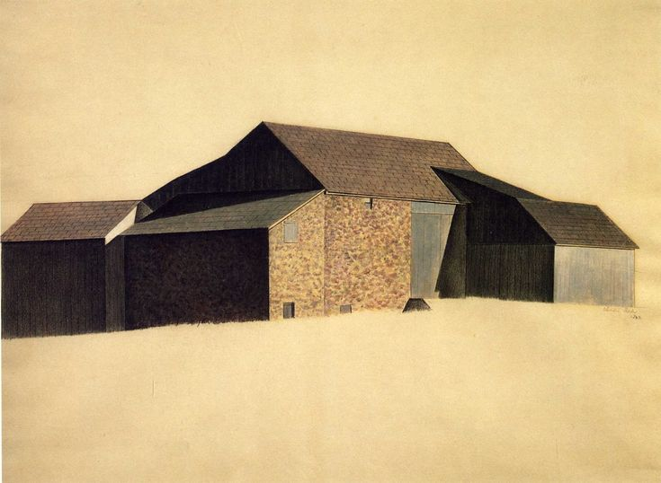 Charles Sheeler   Bucks County Barn    1923   Tempera and crayon on paper 19 5/8 x 26 in (49.8 x 66 cm)   Whitney Museum of American Art, New York