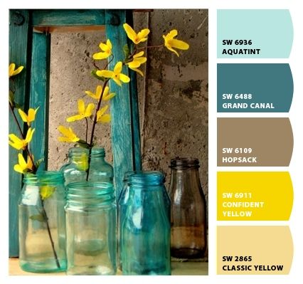 My new color palette for Living room.  Redefining with what I already have.  Paint colors from Chip It! by Sherwin-Williams