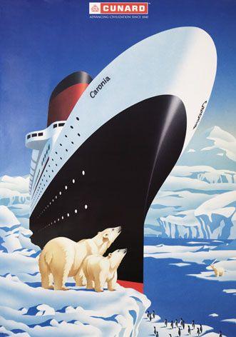 1950's Caronia Ship Cunard Ocean Liner Vintage Poster