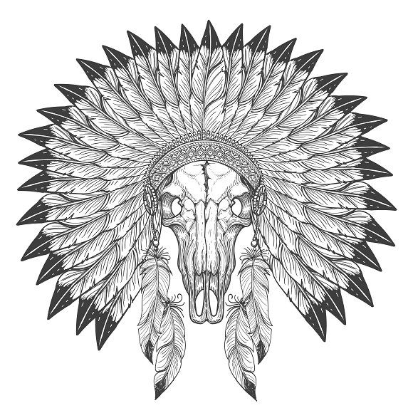 Great White Buffalo Native American Headdress Tattoo: 17 Best Ideas About Skull Sketch On Pinterest
