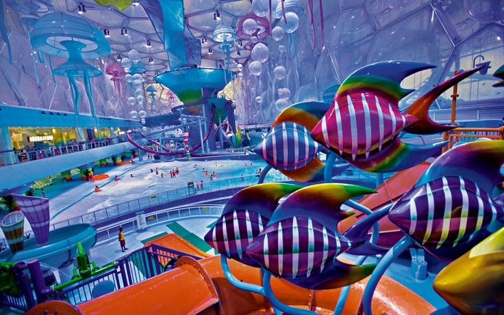 China—As if swimming in a fantasy aquarium, a school of decorative fish hovers inside Beijing's renovated Water Cube. Where Olympic swimmers used to compete, visitors now frolic in a wave pool and on elaborate water-park rides. Credit: Matthew Niederhauser, Institute
