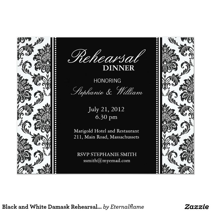 creative wording for rehearsal dinner invitations%0A Black and White Damask Rehearsal Dinner Card