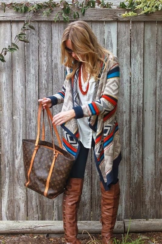 Fall Outfit With Cardigan and Handbag