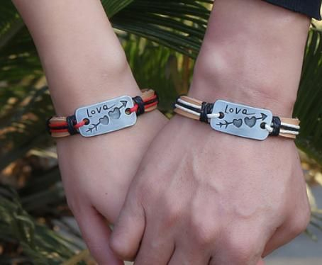 Couple bracelet made by leather