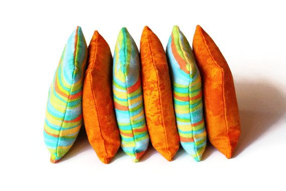 Green Blue Orange Striped Flannel and Bright Orange Bean Bags Children Birthday Toss Game Boys Toy (set of 6) - US Shipping Included by handiworkingirls. Explore more products on http://handiworkingirls.etsy.com