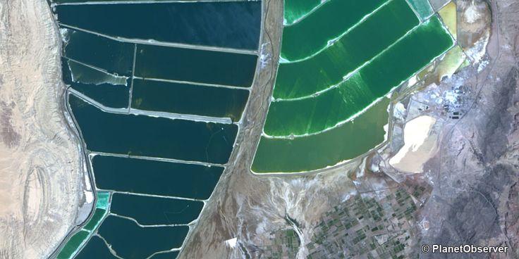 Evaporation ponds south of Dead Sea - PlanetSAT 15 L8 satellite image