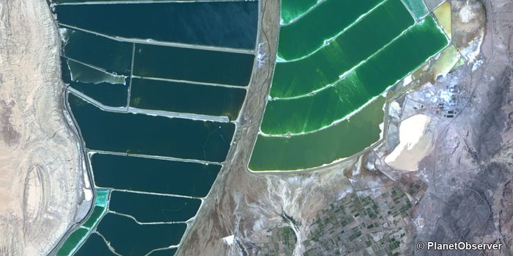 Evaporation ponds south of Dead Sea, Middle East – PlanetSAT 15 L8 satellite image