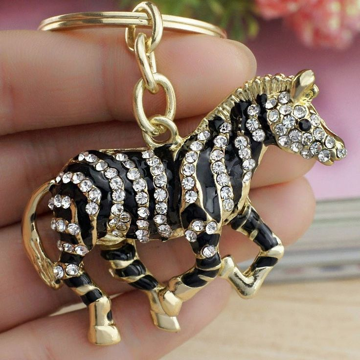 Dalaful 2017 Black Zebra Horse Crystal Rhinestone Metal Bag Pendant Key chains Holder women Keyrings Keychains For Car K180