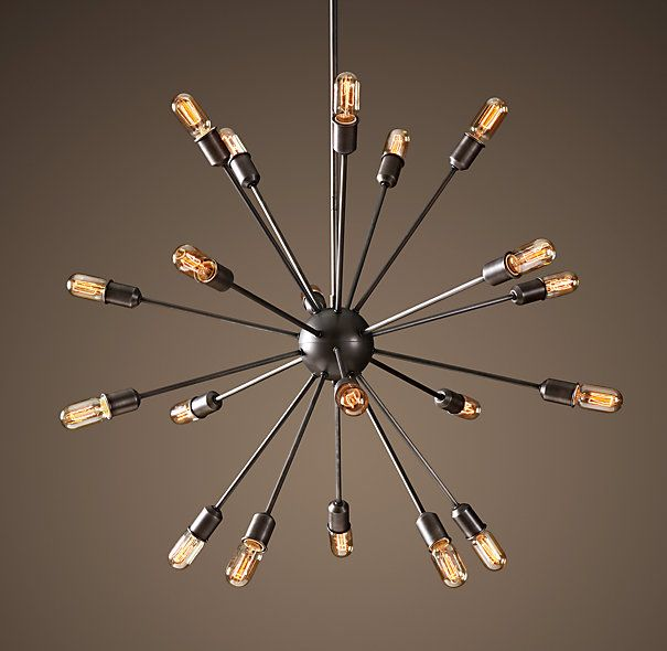 Restoration Hardware Light Fixture Sale: Sputnik Filament Chandelier Aged Steel Large