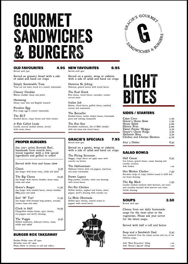 Our new look menu