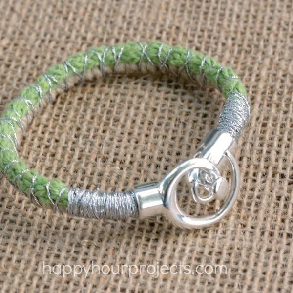 DIY Bracelet : DIY Spiral Clasp Wrapped Cord Bracelet