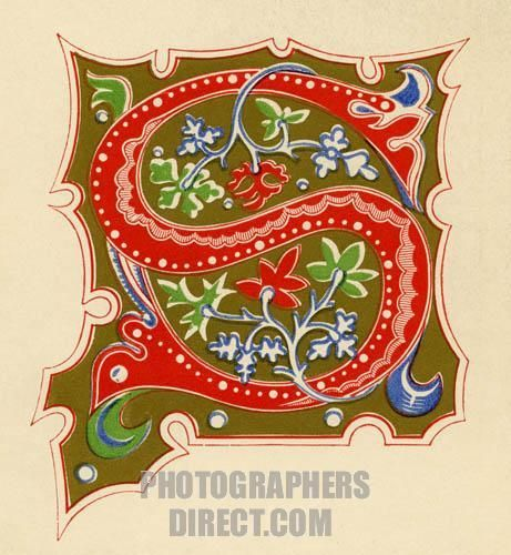 Illuminated Letters Art | Illuminated letter S . Red on a gold background . Fourteenth century ...