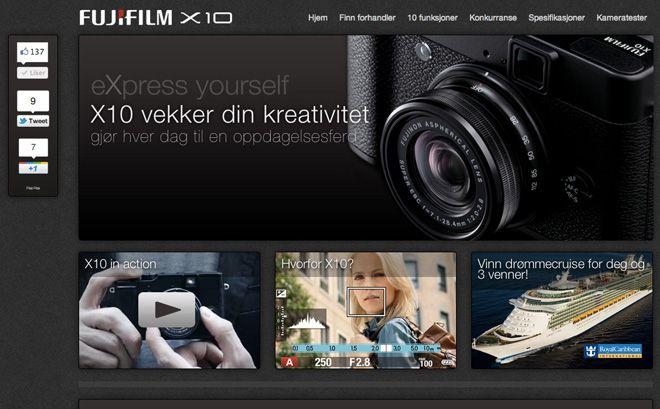 Fujifilm X10 Kampanjesider for Fujifilm Norge og Fujifilm Sverige