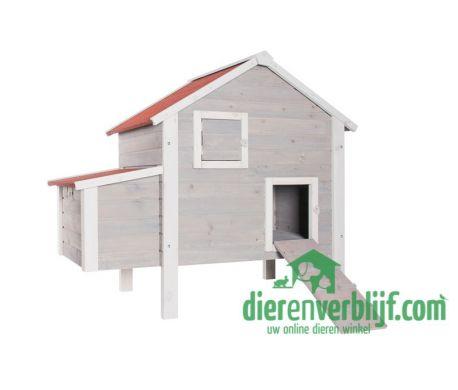 Een compact kippennachthok met legnest wat ruimte biedt aan 3-6 (kriel)kippen. In het hok kunnen de kippen beschut slapen. De loopplank kan opgevouwen worden, deze functioneert dan direct als deur. Het hok is makkelijk te reinigen d.m.v. 2 openslaande dakpanelen. Eenvoudig te plaatsen aan of in een ren.