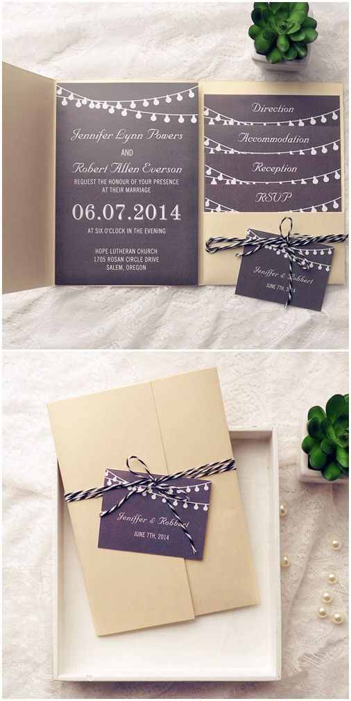 gold and black rustic pocket wedding invitations