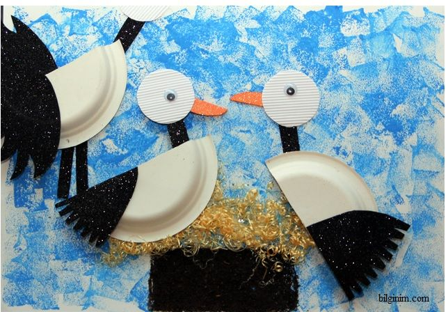 paper plate stork  |   Crafts and Worksheets for Preschool,Toddler and Kindergarten