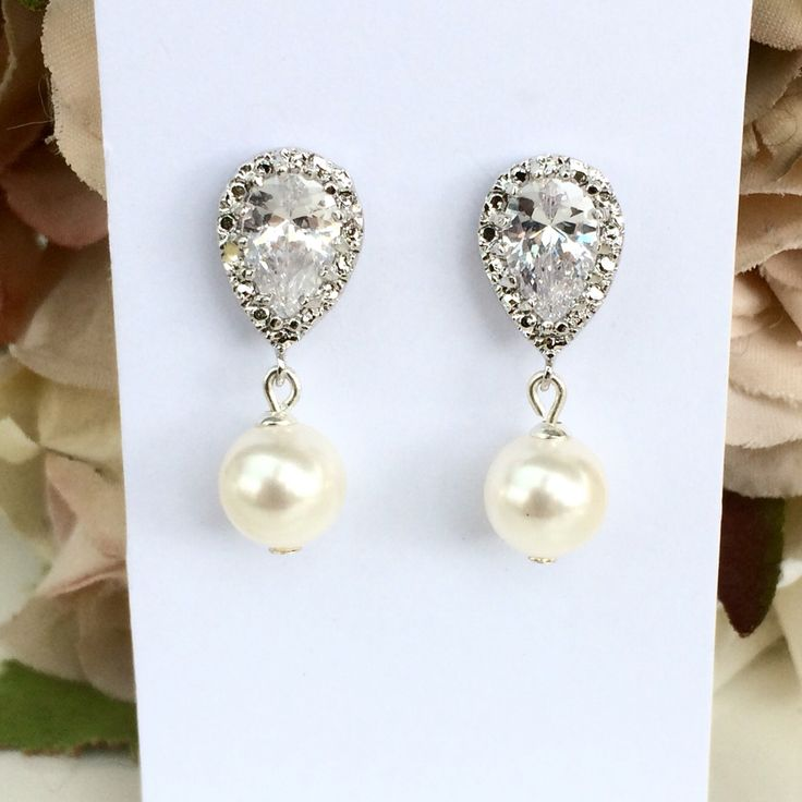 Swarovski pearl and cubic zirconia bridal earrings, wedding jewellery, bridal jewellery, bridal accessories
