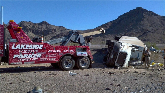 One of the Lakeside Trucks dealing with an Auto Wreck