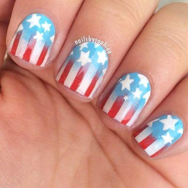 25+ best American nails ideas on Pinterest | American flag ...