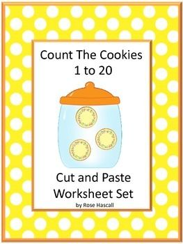 Counting: Count The Cookies 1 to 20 Cut and Paste Worksheets Autism, P-K, K…