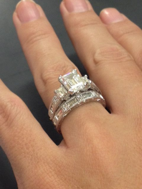 "Kirk Kara ""Charlotte"" Emerald Cut Three Stone Diamond Engagement Ring in 18kt White Gold. Style K1384DE-R anillos de compromiso | alianzas de boda | anillos de compromiso baratos http://amzn.to/297uk4t"